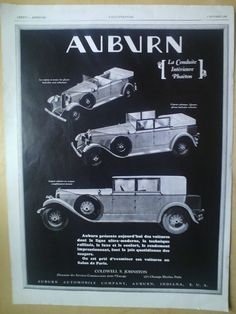 Art Deco Vintage French Ad  Auburn Automobile by reveriefrance