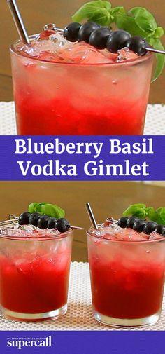 Blueberry Basil Vodka Gimlet
