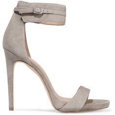 Halston Heritage Ellen suede sandals (310 CAD) ❤ liked on Polyvore featuring shoes, sandals, heels, light gray, ankle tie sandals, ankle wrap shoes, almond toe shoes, heeled sandals and ankle wrap sandals