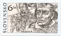 Pribina - The Great Moravian Rulers - a set of four stamps, Slovakia