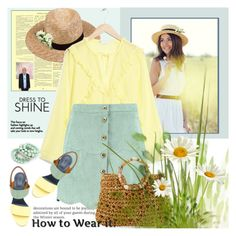 """Pastel Green and Soft Yellow//Contest entry"" by shoaleh-nia ❤ liked on Polyvore featuring Lack of Color, Chloé, Boohoo and Cappelli Straworld"