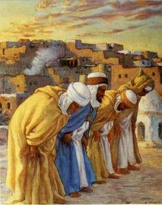 The Monotheistic Prayer - Étienne Dinet Islamic Images, Islamic Art, Art Arabe, Arabian Art, Anime Muslim, Islamic Paintings, Historical Art, Ancient Art, Oeuvre D'art