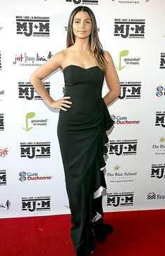 Stunning Camila! Camila Alves wears a Badgley Mischka black and white gown the Mack, Jack & McConaughey Gala at ACL Live on April 24, 2014 i...