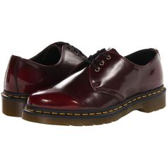 Dr. Martens 1461 Vegan 3-Eye Gibson (Cherry Red Cambridge Brush) Lace... ($125) ❤ liked on Polyvore featuring shoes, oxfords, synthetic leather shoes, dr martens oxford, vegan footwear, faux leather shoes and vegan leather shoes