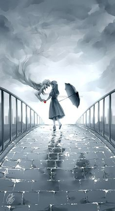 Anime girl and spirit of a boy