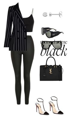 """women in black"" by sylviaasue ❤ liked on Polyvore featuring Alexander Wang, Gucci, Topshop, Zimmermann, Thomas Sabo, Christian Louboutin, Yves Saint Laurent and allblackoutfit"