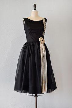vintage 1950s black chiffon stripe rosette dress