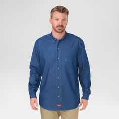 Dickies Relaxed Fit Denim Long Sleeve Button Down Shirt- Stone Washed Blue XX-Large, Size: Xxl
