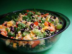 Quinoa, Mango & Black Bean Salad- made this tonight as a side dish to go with the chicken avocado soup, delish!!