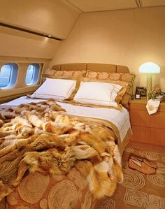 Emmy DE * Bed on the air. Luxury private jet interior ~ Travel in Style ✈