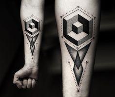 Pointillism Tattoo Art by Kamil Czapiga