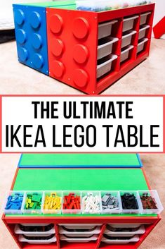 This is the ultimate IKEA Lego table hack! Turn a boring IKEA Trofast drawer unit into a giant Lego brick with baseplate building surface on top bins for organizing by color and casters to wheel it around the playroom. Get the VIDEO and full tutorial at Ikea Shelf Unit, Ikea Shelves, Drawer Unit, Shelf Units, Table Lego Ikea, Lego Table With Storage, Lego Play Table, Legos, Mesa Lego