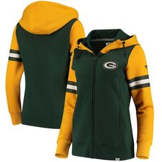 039840ad0da Women s Green Bay Packers NFL Pro Line by Fanatics Branded Green Gold  Iconic Fleece Full-Zip Hoodie