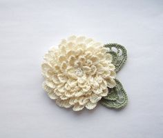 cream crochet flower brooch cream crochet brooch by SuzieSue1972, £12.50