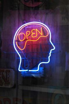 Open minded, neon sign