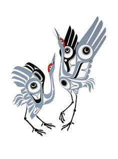 Dancing Cranes-Print-Nortwest Coast native Art