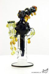 Huffy Glass Dark Amethyst and NS Yellow Oil Drips Heady Recycler with Worked Dome