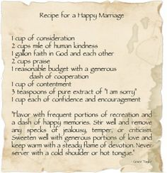 recipe for a happy marriage - Google Search