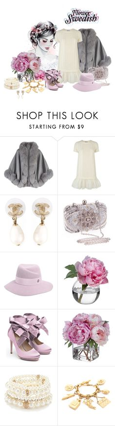 """""Good evening, idiot hookers."""" by sadwords ❤ liked on Polyvore featuring Harrods, RED Valentino, Chanel, Chicnova Fashion, Maison Michel, Diane James, Liam Fahy and Forever 21"