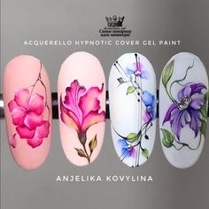 Nail Art Designs Videos, Cool Nail Designs, Tropical Nail Designs, Water Color Nails, Nail Stencils, Special Nails, Floral Nail Art, Cat Nails, Manicure Y Pedicure