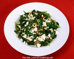 Lemony Spinach with Feta and Pine Nuts - For the Love of Cooking