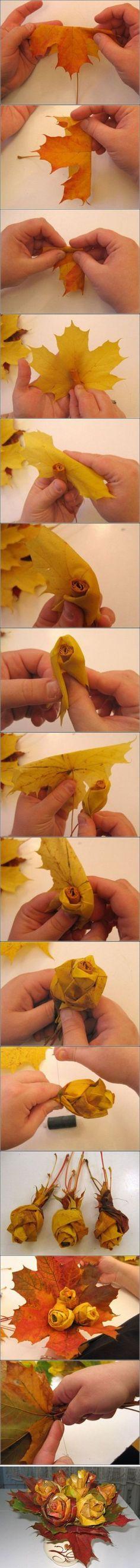 Ramo de rosas realizadas con hojas secas... que dedicación carae..