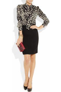 Ruffled spot-print silk blouse MOSCHINO