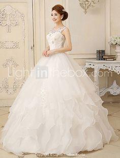 fundașii centrali rochie bijuterie organza rochie de mireasa podea lungime - EUR € 109.08