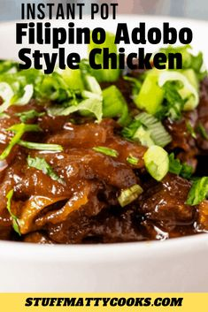 Filipino Chicken Adobo in the Instant Pot is and easy recipe with adobo style seasoning. This is quick to make in your pressure cooker. It can also be made in the crock pot. Pressure Cooker Chicken, Instant Pot Pressure Cooker, Pressure Cooker Recipes, Pressure Cooking, Easy Chicken Recipes, Crockpot Recipes, Freezer Recipes, Freezer Cooking, Healthy Recipes