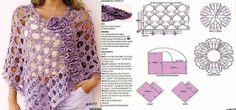 Patrones Crochet: Poncho Calado Lila Patron
