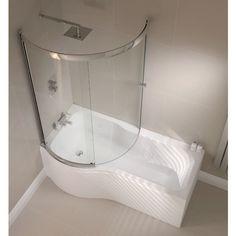 April P Shape Sliding Bath Screen - Left or Right Hand Option Profile Large Image