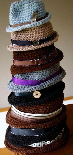 the coolest Crocheted item? PDF Crochet Pattern Classic Fedora by kariodesigns on Etsy Sombrero A Crochet, Crochet Beanie, Knitted Hats, Knit Crochet, Crotchet, Crocheted Baby Hats, Crochet Adult Hat, Crochet Twist, Newborn Crochet