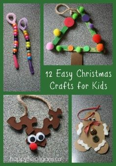Christmas crafts for kids - happy hooligans - easy homemade ornaments Easy Christmas crafts for kids to make. All 12 of these homemade Christmas ornaments are easy, affordable, and use very basic craft supplies. Easy Christmas Crafts For Toddlers, Preschool Christmas, Noel Christmas, Christmas Activities, Toddler Crafts, Simple Christmas, Christmas Projects, Holiday Crafts, Holiday Fun