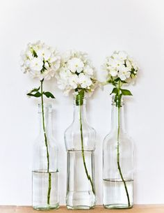 $15 Cute Cool Easy DIY Glass See-Through Bottles With White Green Flowers Home Decor Home Accessory