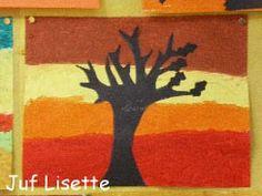 Herfstkleuren op de achtergrond met silhouet boom van zwart papier