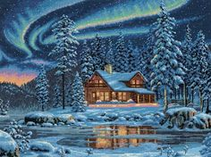 Dimensions Needlecrafts Counted Cross Stitch, Aurora Cabin