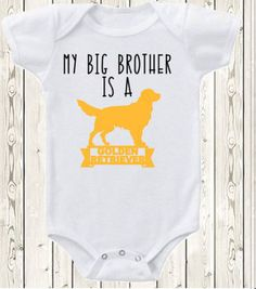 My Big brother Sister is a Golden Retriever dog ONESIE ® brand bodysuit or shirt pregnancy announcement Sibling by The1stYearBaby on Etsy