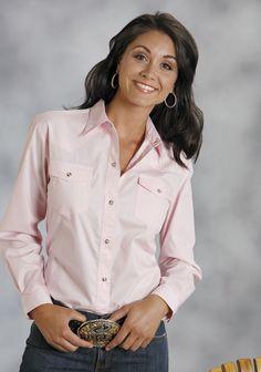 545ae214b12c7 Roper Ladies Basic Solid Poplin Long Sleeve Shirt Snap Closure - 2 Pocket