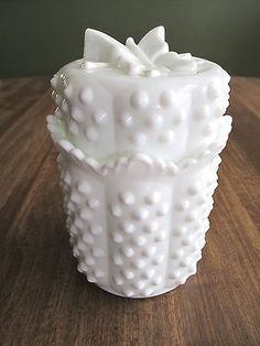 Vintage Fenton White Milk Glass Hobnail Cannister/Jar with Butterfly Lid