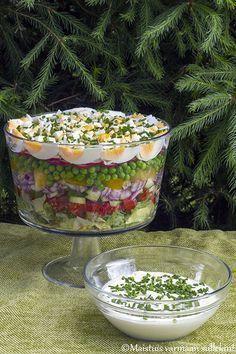 Tätä salaattia meillä syötiin jo juhannuksena. Piti jo aiemminkin julkaista se, mutta kesä on vain yhtäkkiä mennyt hiljaisella postaustah... Appetizer Recipes, Salad Recipes, Snack Recipes, Healthy Recipes, Snacks, Healthy Cooking, Healthy Eating, Healthy Food, Finnish Recipes