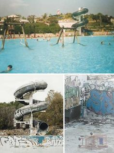Off The Deep End: 12 Abandoned Swimming Pools; Sitges Aquatic Paradise – Catalonia, Spain; Paradise lost, or so it would seem. The image at top was taken in 1991 when Sitges Aquatic Paradise, located a few miles southwest of Barcelona, was up and running. Unfortunately however, Sitges is a town where grand ideas go to die – take the defunct Sitges Terramar auto racing course, for example.