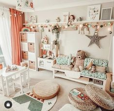 """And here she is, the playroom reveal.swipe to see various stages of """"before"""". I'm so sorry guys I didnt have time to take photos from… Big Girl Bedrooms, Little Girl Rooms, Girls Bedroom, Toddler Playroom, Toddler Rooms, Baby Room Design, Baby Room Decor, Playroom Decor, Boy Room"""