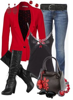 """Blazer & Jeans 3"" by jaimie-a ❤ liked on Polyvore"