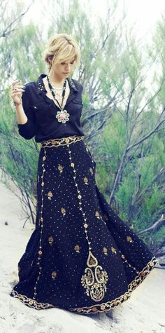 Indian skirt and black blouse. Perfect.
