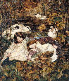 Edward Atkinson Hornel Autumn 1904 Oil on canvas support: 1168 x 1022 mm Presented by Sir Hugh Reid 1928 Victoria Art, Tate Gallery, Art Uk, Oil On Canvas, Illustration Art, Photos, Photographs, Fine Art, Image