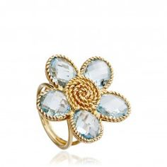 Fun and flirty cocktail ring. Florence ring in 18 carat yellow gold with blue topaz, from the talented London based jewellery designer Kiki McDonough.