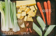 Pain Relieving Turmeric Juice, ingredients:  organic celery cucumber ginger root turmeric root  carrots chopped pineapple