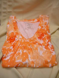 Lane Bryant Orange V-Neck Shirt Top Short Sleeve 100% Supima Cotton Size 26/28 #LaneBryant #Top #Casual