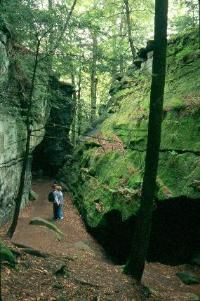 OH--Cuyahoga County--Brecksville--Cuyahoga Valley National Park--Ritchie Ledges/Virginia Kendall Park---site links to pdfs, a onced damaged landscape (by humans) now preserved, shelters and trails built by CCC