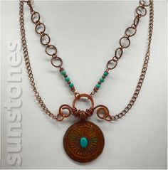 Rustic Copper Pendant Necklace by SunStones on Etsy,